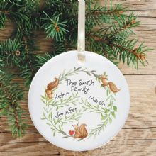 Ceramic Keepsake Family Christmas Tree Decoration - Squirrel Design